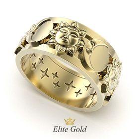 кольцо луна и солнце в лимонном золоте