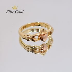 кладдахское кольцо pink heart celtic без камней в лимонном золоте и сердце в красном