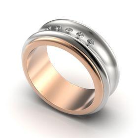 женское авторское кольцо вогнутое в белом и красном золоте