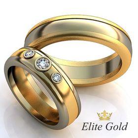 авторские обручальные кольца в 2 цветах золота классические