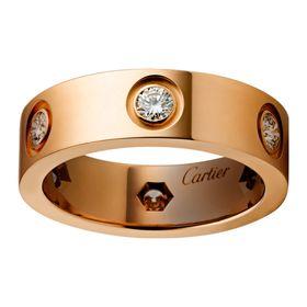Кольцо в стиле Cartier Love с 6 камнями в красном золоте