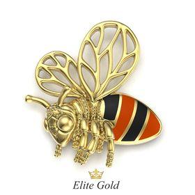 подвеска Honey Bee в лимонном золоте с ювелирной эмалью