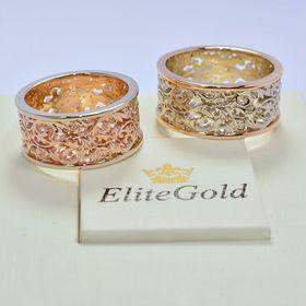 ажурные кольца в красном и белом золоте