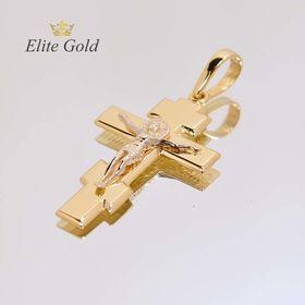крест в лимонном и белом золоте распятие