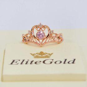 кольцо-корона с аместистом и фианитами