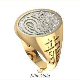 перстень Dragon в красном и белом золоте