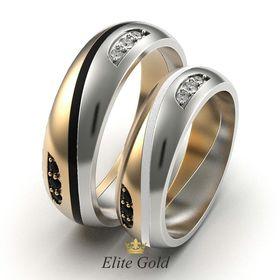 кольца Arrow в красном и белом золоте, с черной и белой эмалью