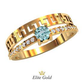 кольцо Verena с центральным голубым камнем