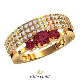 кольцо Riviera с малиновыми и белыми камнями