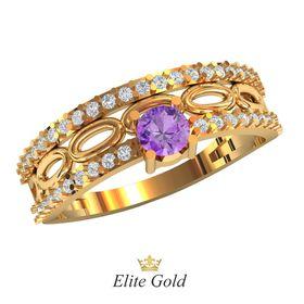 кольцо Bardot с фиолетовым камнем в центре