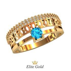 кольцо Bellona с голубым камнем