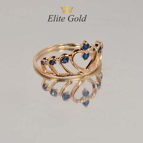 кольцо корона с синими камнями в красном золоте
