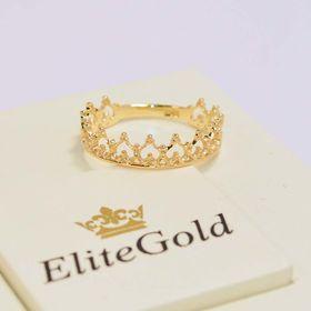 кольцо-корона в лимонном золоте без камней