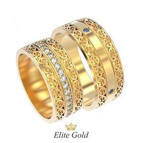 обручальные кольца Solange с белыми и синими камнями