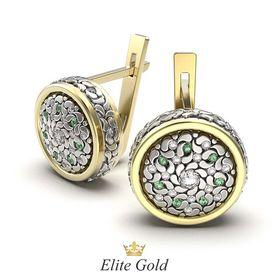 серьги Fidella в лимонном и белом золоте с зелеными и белыми камнями