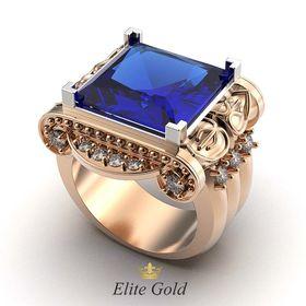 мужской массивный перстень с синим камнем