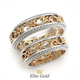 кольца Floral Fantasy в классическом золоте с белыми ободками