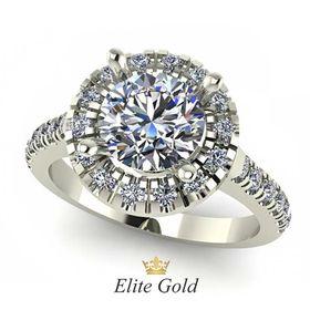 кольцо для помолвки с крупным камнем в белом золоте