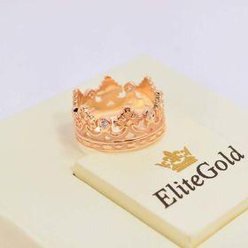 кольцо корона в красном золоте с белыми камнями