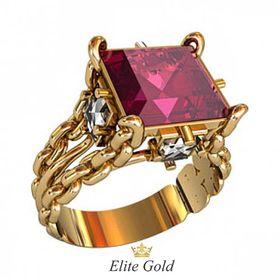 кольцо Fatum с крупным малиновым камнем в центре