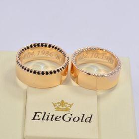 обручальные кольца с прозрачными и черными бриллиантами