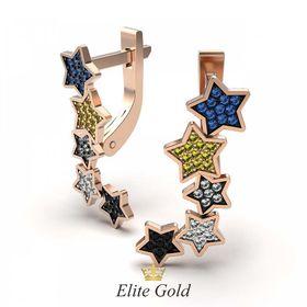 серьги Starry Sky в красном золоте с чернением отдельных звезд