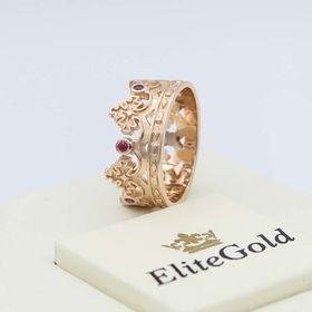 кольцо корона с рубинами и аметистами