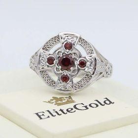 кольцо Татеосса в белом золоте с гранатами
