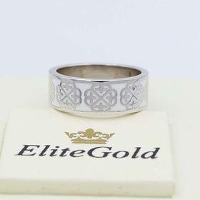 кольцо Vienna в белом золоте с белой эмалью