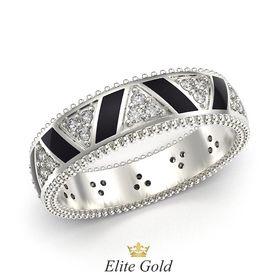 кольцо Saga в белом золоте с черной эмалью