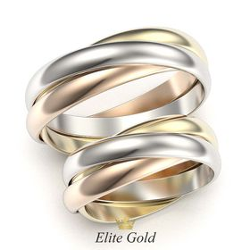 кольца Тринити в 3 цветах золота