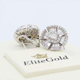 серьги с россыпью бриллиантов в белом золоте 750 пробы