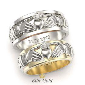 кольца Always & Forever с рельефными элементами в белом и лимонном золоте