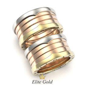 пара колец в стиле Zero в 3 цветах золота