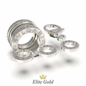 подвеска в стиле булгари с камнями в белом золоте с камнями по краям