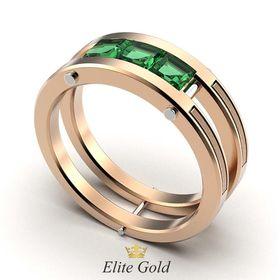 кольцо Ambassador с зелеными камнями в красном и белом золоте