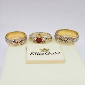 """кольца """"Eternity"""" в двух цветах золота c кольцом Red Heart Petite"""
