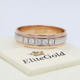 кольцо Union в комбинированном золоте с камнями