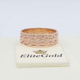 кольцо с надписью спаси и сохрани в красном золоте 585, с рельефным рисунком
