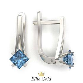 серьги Vesper в белом золоте с синими камнями