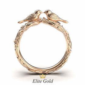 кольцо с птичками - вид сбоку