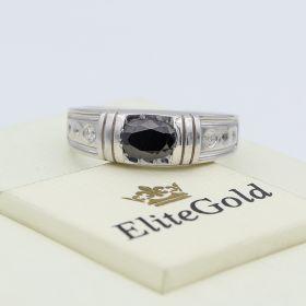 мужской перстень Alvaro в белом золоте и с чернением