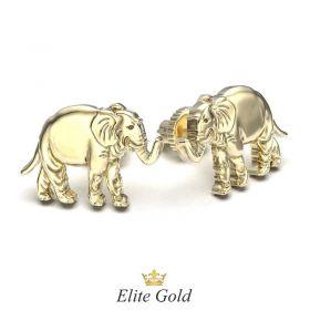 серьги - гвоздики в виде слонов в лимонном золоте