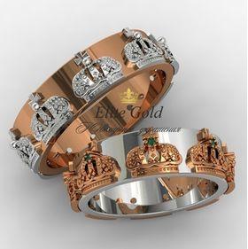 авторские обручальные кольца короны