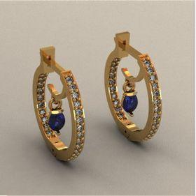 серьги кольца с камнями грушами