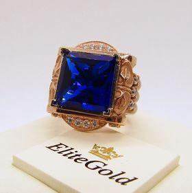 мужской перстень Imperial Glory в красном и белом золоте с синим камнем
