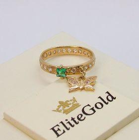 золотое кольцо с бабочкой фото