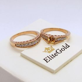 двойное кольцо сет для невесты в красном золоте