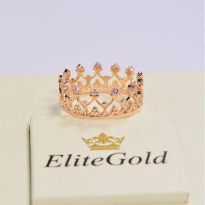 кольцо корона Grace в красном золоте с аметистами