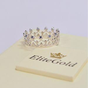 кольцо корона Grace в белом золоте с сапфирами